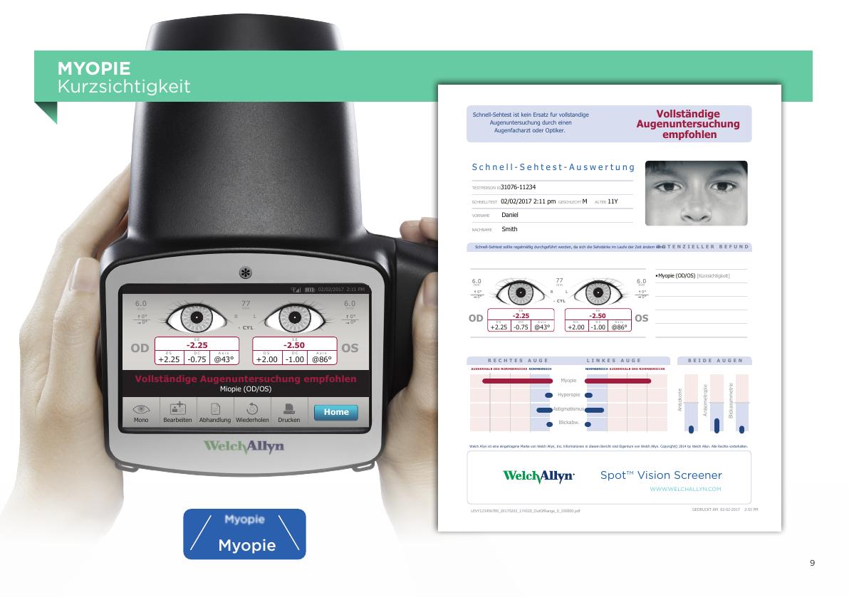 Spot™ Vision Screener Ergebnis Myopie Kurzsichtigkeit